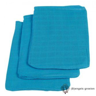 Hydrofiel washandjes - Turquoise - 3st
