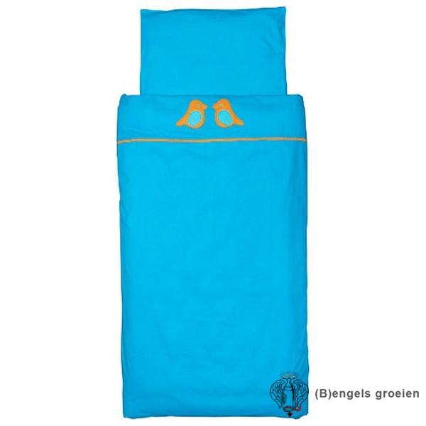 Overtrek en sloop - Ledikant - Organic - Birdy - Turquoise/Oranje