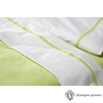 Laken - Ledikant - Broderie Flower - Lime