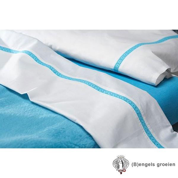 Laken - Ledikant - Broderie Flower - Turquoise