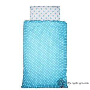 Overtrek en sloop - Tienerbed - Dots - Turquoise