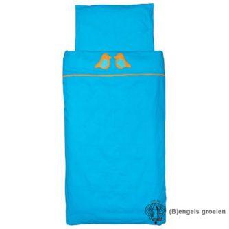Overtrek en sloop - Tienerbed - Organic - Birdy - Turquoise/Oranje