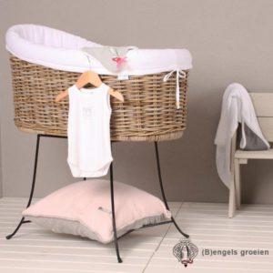 Wieg - Flores - Grijs Rotan - Incl standaard, bekleding en matras