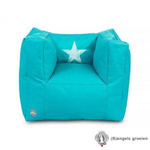 Fauteuiltje - Beanbag - Faded Star - Aqua