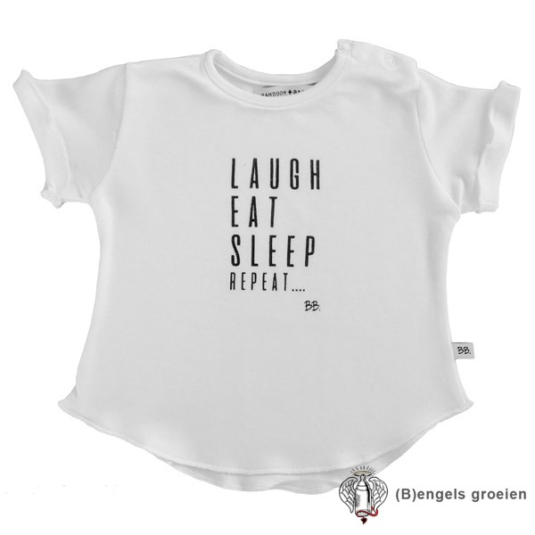Shirtje - Korte Mouw - Laugh Eat Sleep - Wit - 68