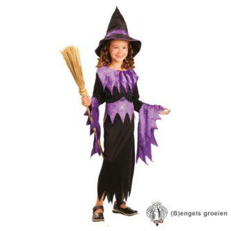 Halloween - Kinderkostuum - Heks - Paars - 4 - 6 jr