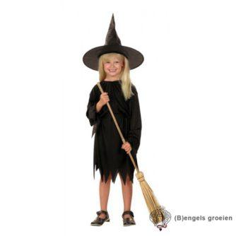 Halloween - Kinderkostuum - Heks - Zwart - 4 - 6 jr