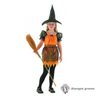 Halloween - Kinderkostuum - Heks - Oranje - 4 - 6 jr