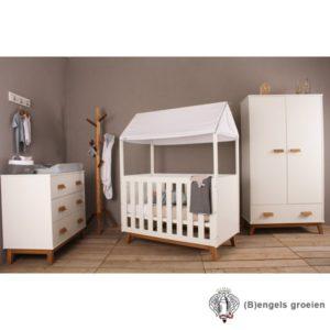 Complete babykamer - New Vintage - Met Hemelbed - Wit/Beuken