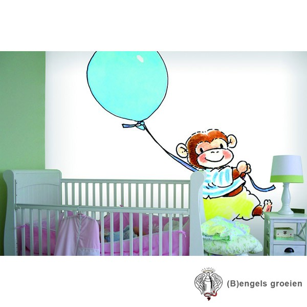Posterbehang - Monkey with a Balloon - 4 Panelen