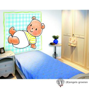 Posterbehang - Bear on Turquoise - 3 Panelen