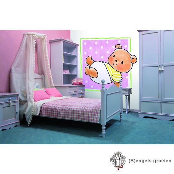 Posterbehang - Bear on Pink - 3 Panelen