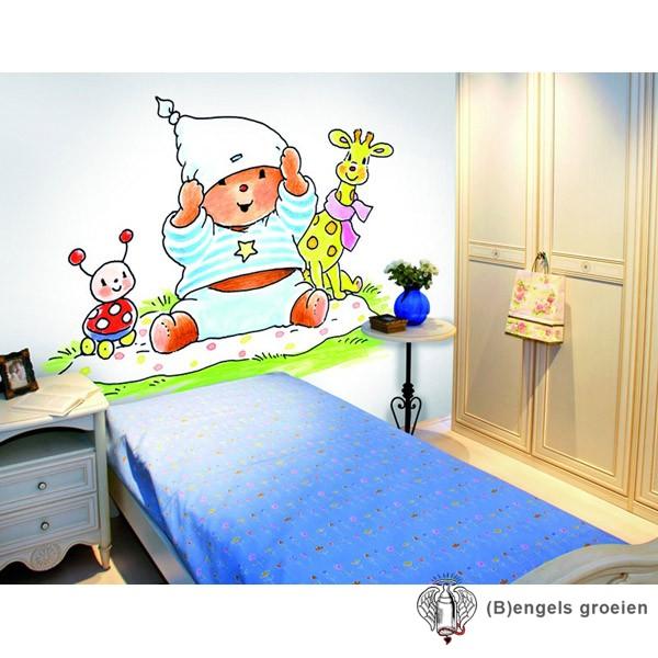 Posterbehang - Picknick on Blue - 3 Panelen