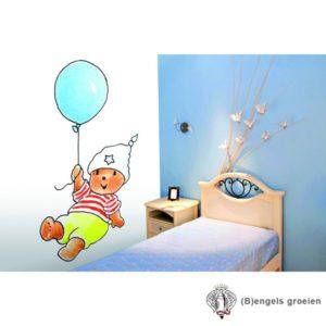 Posterbehang - Bobbi with a Blue Balloon - 3 Panelen
