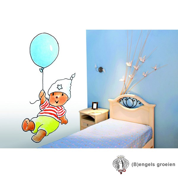 Posterbehang - Bobbi with a Blue Balloon - 4 Panelen