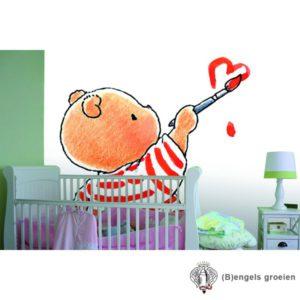 Posterbehang - Bobbi painted Heart - 4 Panelen