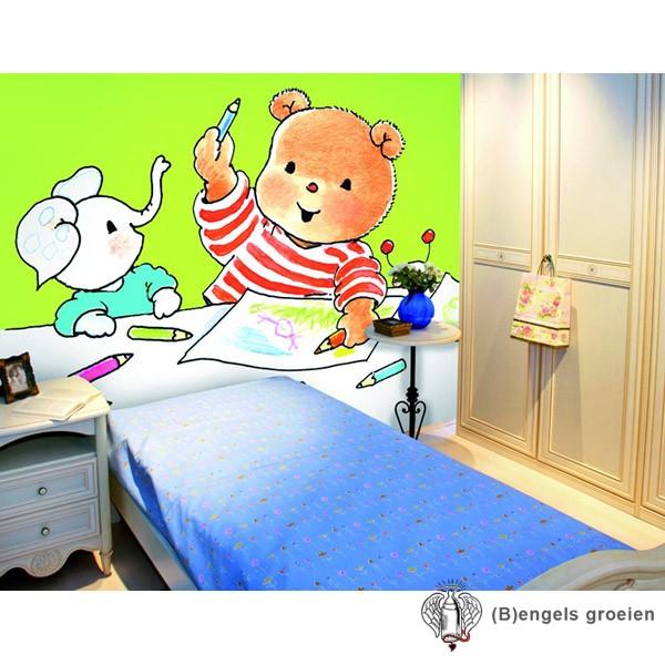 Posterbehang - Bobbi with Crayons - 4 Panelen
