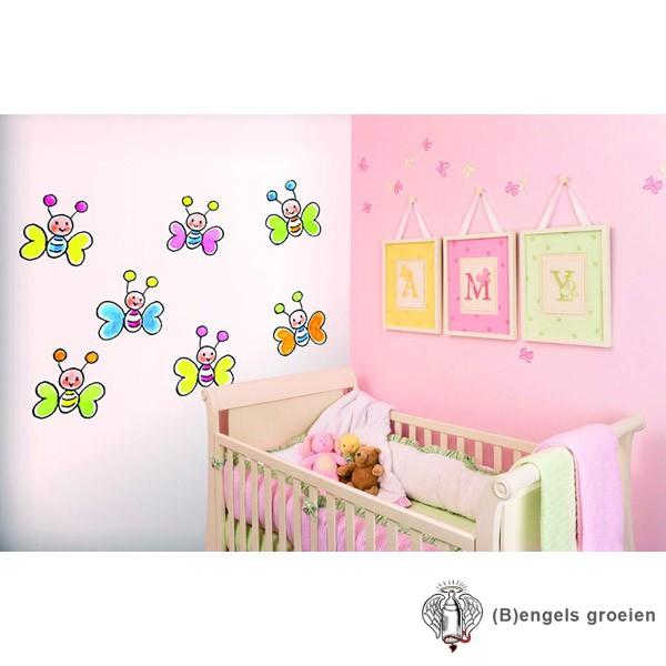 Posterbehang - Butterflies on White - 3 Panelen