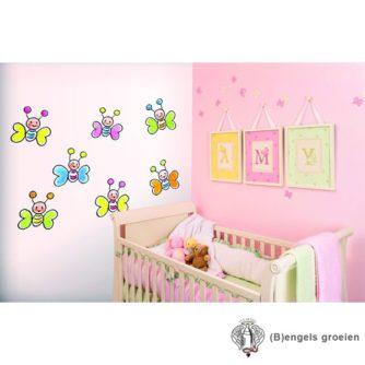 Posterbehang - Butterflies on White - 4 Panelen