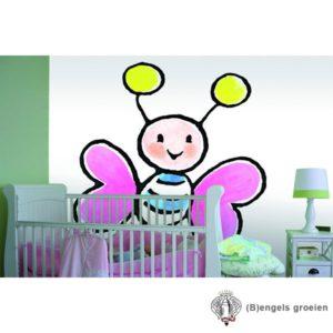 Posterbehang - Big Pink Butterflie - 3 Panelen