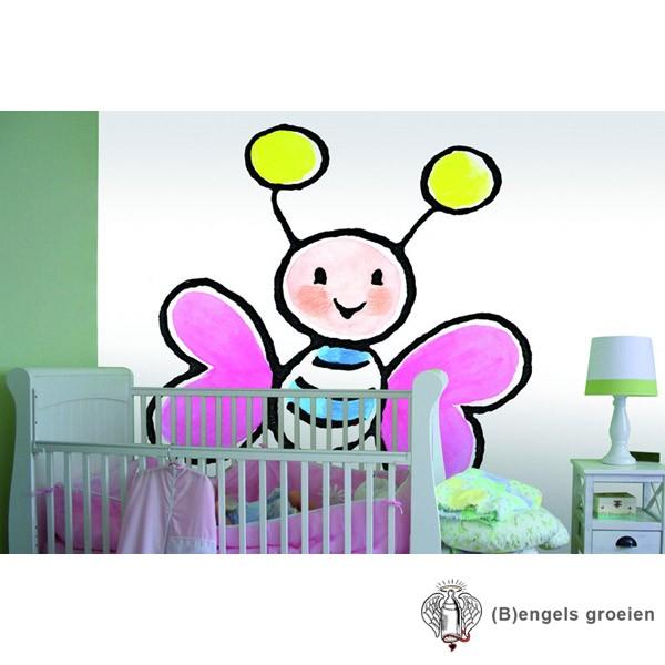 Posterbehang - Big Pink Butterflie - 4 Panelen