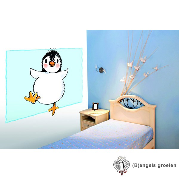 Posterbehang - Penguin on Blue - 3 Panelen