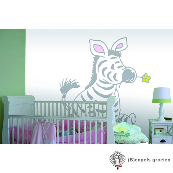 Posterbehang - Sitting Zebra in light grey - 4 Panelen