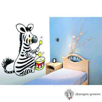 Posterbehang - Zebra with Drum - 4 Panelen