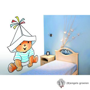 Posterbehang - Bobbi with a paper Hat Blue - 4 Panelen