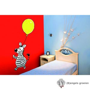 Posterbehang - Zebra with a Yellow Balloon - 4 Panelen