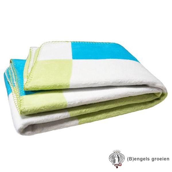 Deken - Ledikant - Blok - Lime/Turquoise/Wit