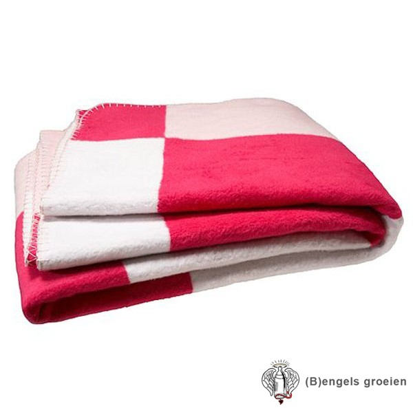 Deken - Ledikant - Blok - Roze/Fuchsia/Wit