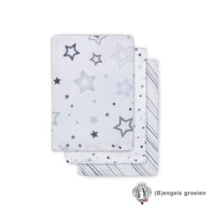 Hydrofiel washandjes - Stardust - Grijs - 3st