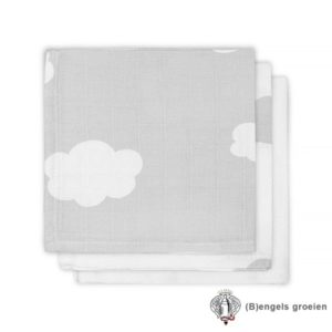 Monddoekjes - Hydrofiel - Clouds - Grijs - 3st