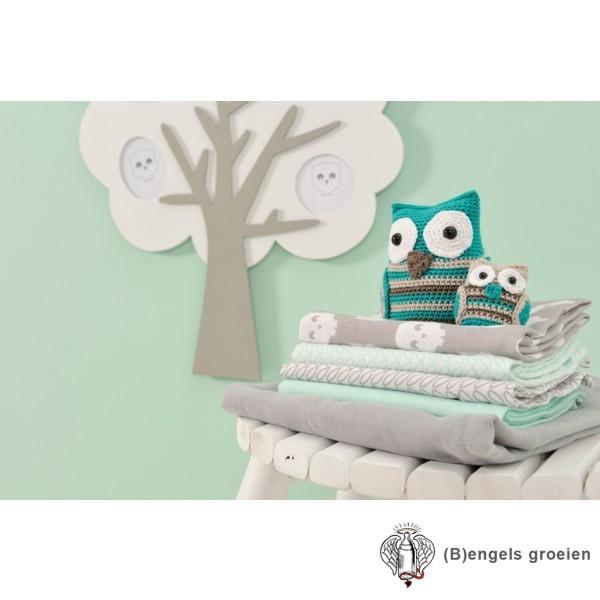 Flanellen luiers - Owl - Grijs (3 st.)