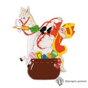 Sint en Piet - Decoratie - Sint Op Paard - 65 x 58 cm