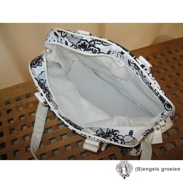 Handtas - Bloemen - Wit/Zwart