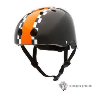 Veiligheids helm - Zwart met Race Streep - S