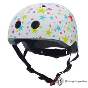 Veiligheids helm - Wit met Gekleurde Glittersterren - S