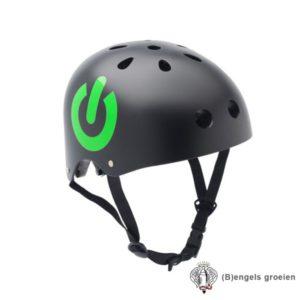 Veiligheids helm - Matzwart met Rood en Groen on/off Teken - S