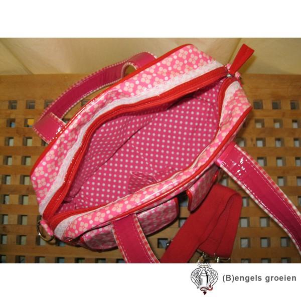 Handtas - Stippen - Roze/Wit